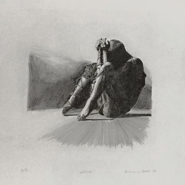 gefesselt (1987), 38,5 x 29 cm, Lithographie