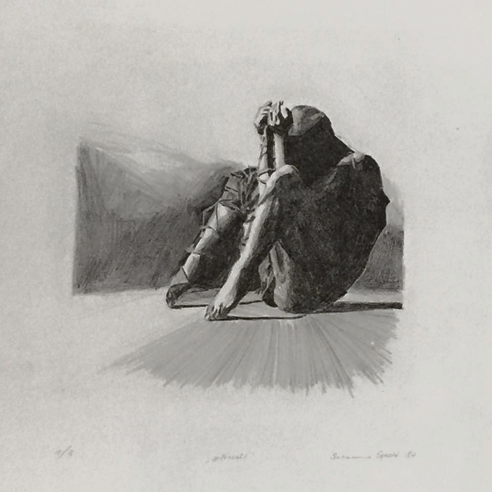 <p><strong>gefesselt (1987)</strong>, 38,5 x 29 cm, Lithographie</p>