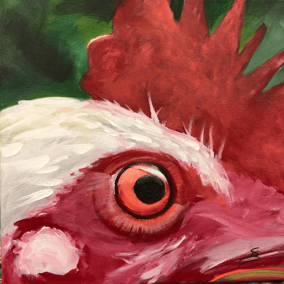 "<p class=""p1""><span class=""s1""><strong>Moments ""Rooster""</strong>, 25 x 25 cm, acryl on canvas</span></p>"