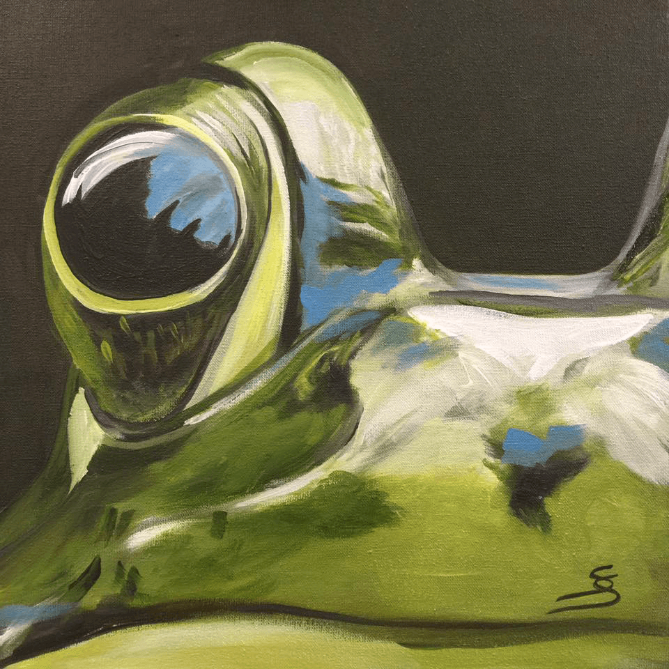 "<p class=""p1""><span class=""s1""><strong>Moments ""Frog""</strong>, 25 x 25 cm, acryl on canvas</span></p>"