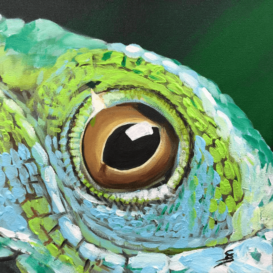 "<p class=""p1""><span class=""s1""><strong>Moments ""Chameleon""</strong>, 25 x 25 cm, acryl on canvas</span></p>"