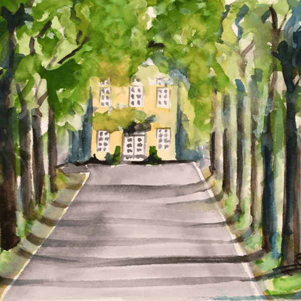 "Village and Surroundings ""Lenningser Avenue"",16 x 23 cm, aquarelle"