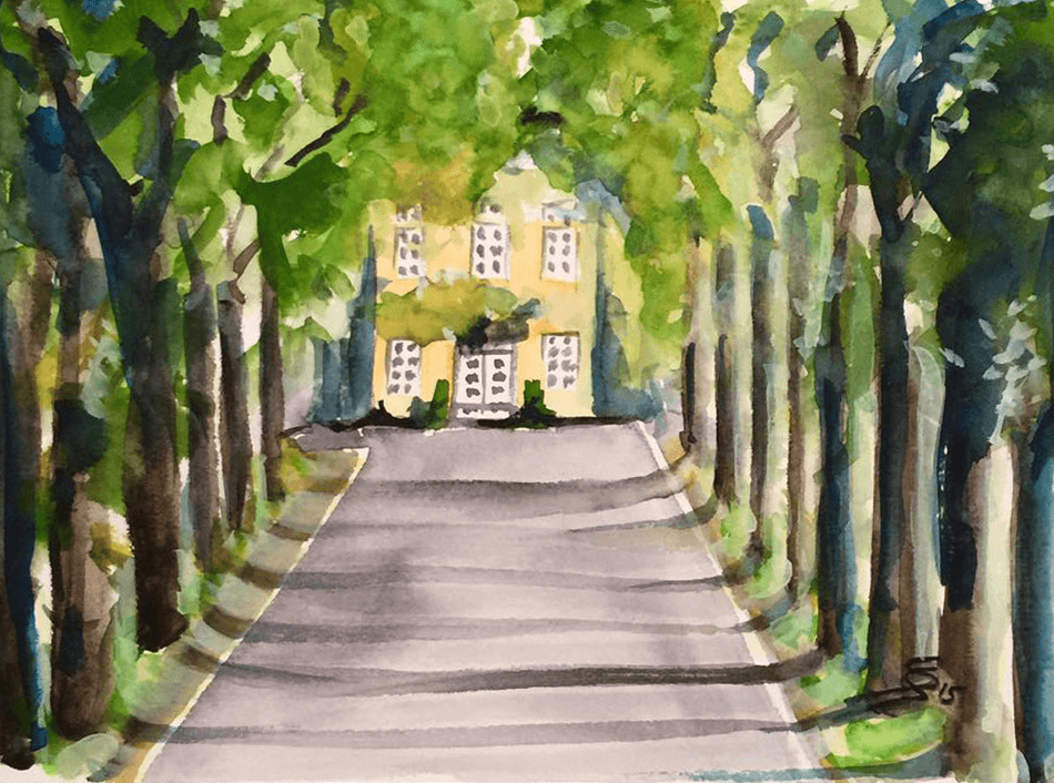 "<p class=""p1""><span class=""s1""><strong>Village and Surroundings ""Lenningser Avenue""</strong>,16 x 23 cm, aquarelle</span></p>"