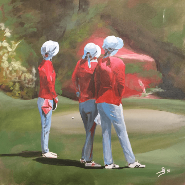 "Golfseries ""Caddies in Thailand"",  50 x 50 cm, acryl on canvas"