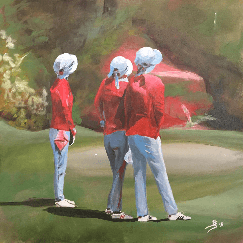 "<p class=""p1""><span class=""s1""><strong>Golfseries ""Caddies in Thailand""</strong>,<span class=""Apple-converted-space"">  </span>50 x 50 cm, acryl on canvas</span></p>"