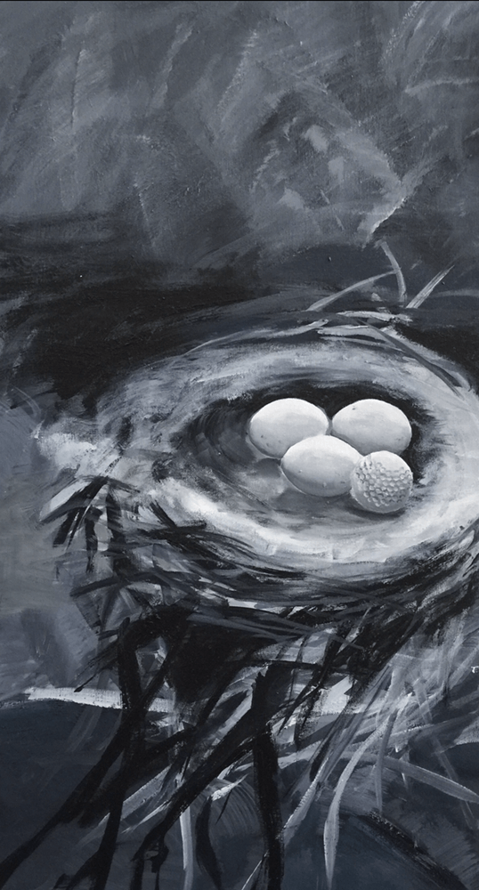 "<p class=""p1""><span class=""s1""><strong>Golfseries ""Cuckoo's Egg""</strong>, 80 x 40 cm (Originalmaß), acryl on canvas</span></p>"