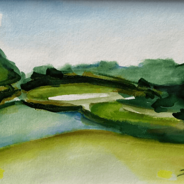 "Golfseries ""Loch Ness / Golf Course of Hamm, Hole 9"", 23 x 30 cm, aquarelle"