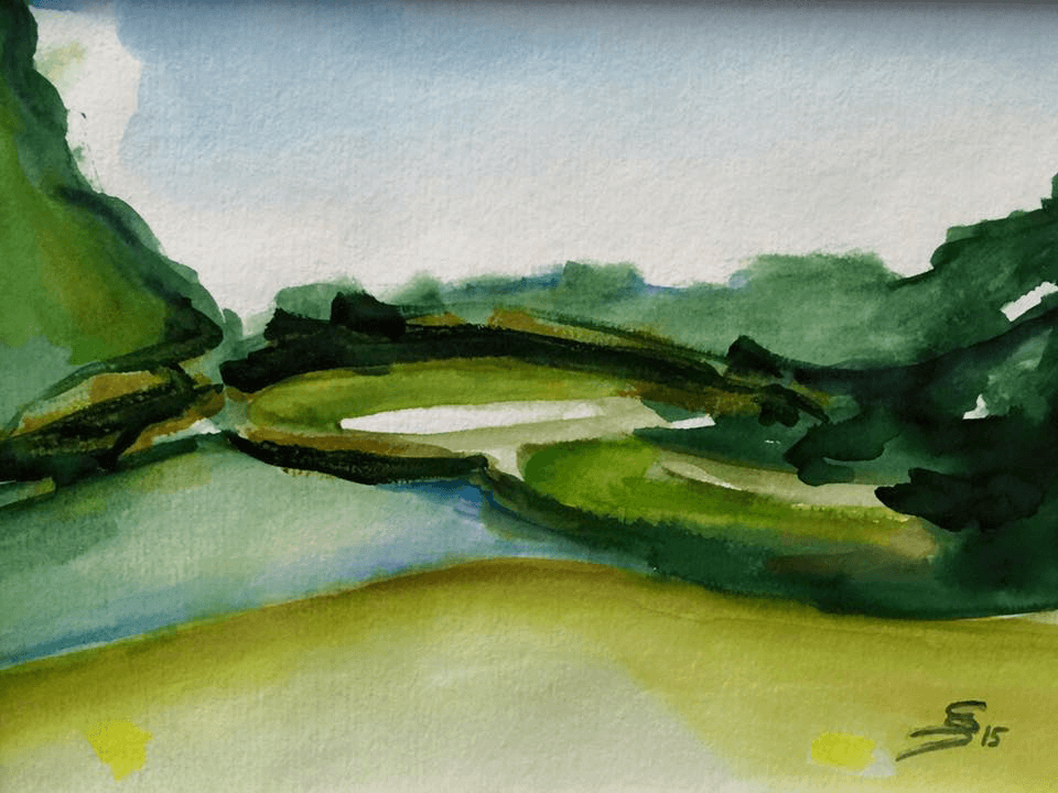 "<p class=""p1""><span class=""s1""><strong>Golfseries ""Loch Ness / Golf Course of Hamm, Hole 9""</strong>, 23 x 30 cm, aquarelle</span></p>"
