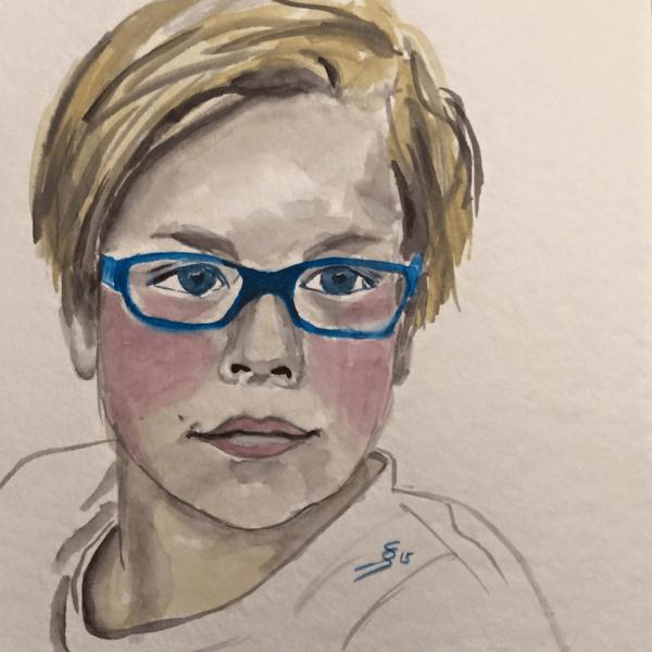 Portrait, 20 x 20 cm, aquarelle