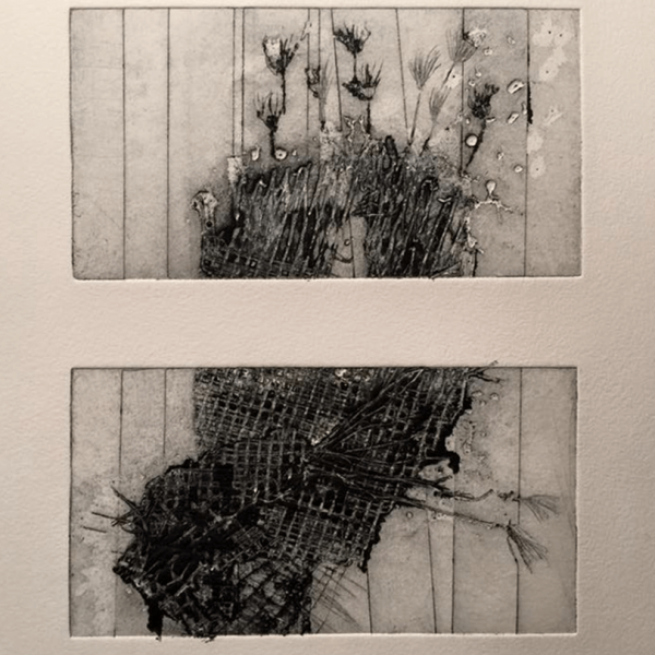 Ohne Titel, 8 x 15 cm (2 x), Kaltnadelradierung