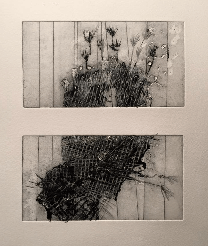 """<p class=""""p1""""><span class=""""s1""""><strong>Untitled</strong>, 8 x 15 cm (2 x), drypoint</span></p>"""