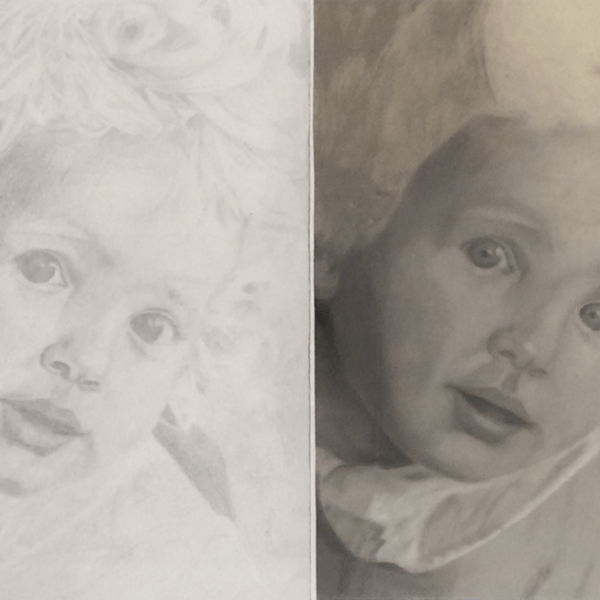 Portrait of my dad as a child (ca. 1985), 2 x DIN A 3, drawing pencil and pastel chalk compared