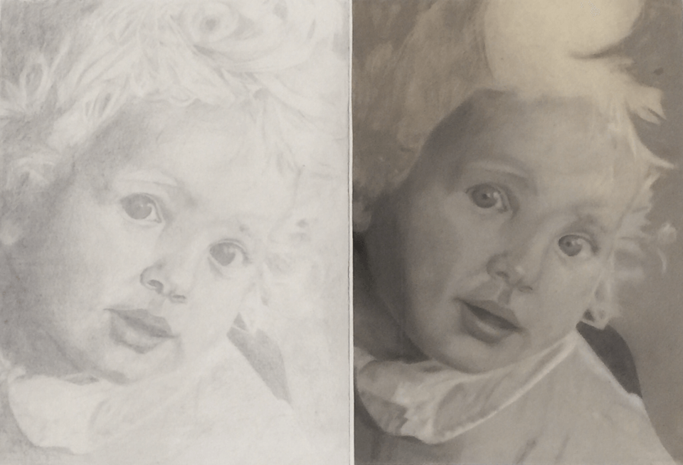 "<p class=""p1""><span class=""s1""><strong>Portrait of my dad as a child (ca. 1985)</strong>, 2 x DIN A 3, drawing pencil and pastel chalk compared</span></p>"
