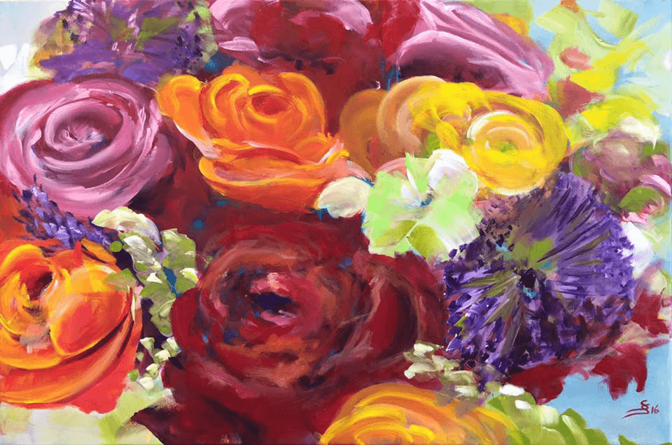 "<p class=""p1""><span class=""s1""><strong>the bouquet</strong>, 60 x 90 cm, acryl on canvas</span></p>"