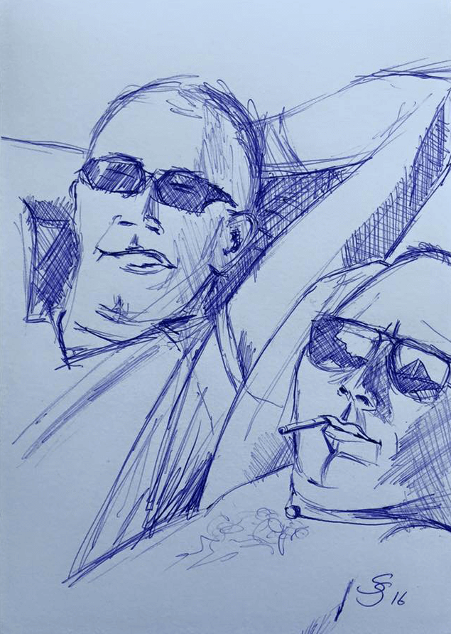 "<p class=""p1""><span class=""s1""><strong>at the pool (sketch)</strong>, 21 x 15 cm, pen drawing</span></p>"