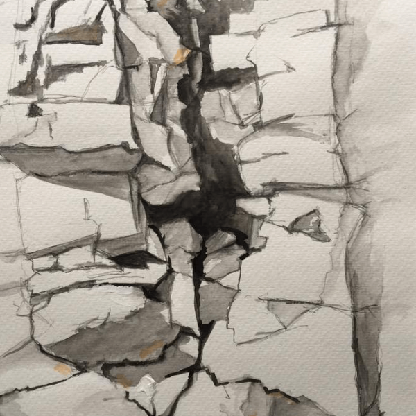 Stone wall of the Provence, 29 x 23 cm, pencil – aquarelle