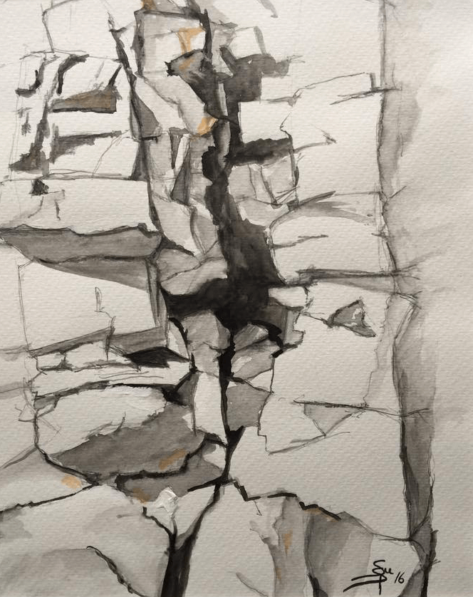 "<p class=""p1""><span class=""s1""><strong>Stone wall of the Provence</strong>, 29 x 23 cm, pencil – aquarelle</span></p>"