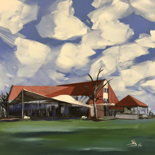 "Golfseries ""Clubhouse Fröndenberg"", 50 x 50 cm, acryl on canvas"