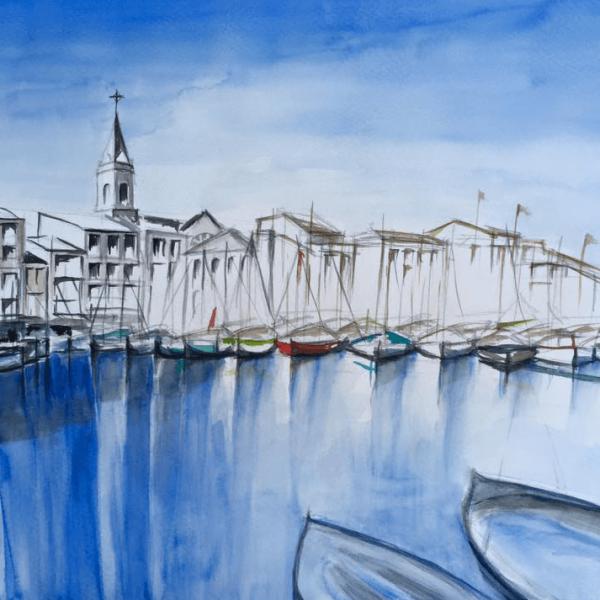 Sanary-sur-Mer, Provence, 36 x 48 cm, Aquarell
