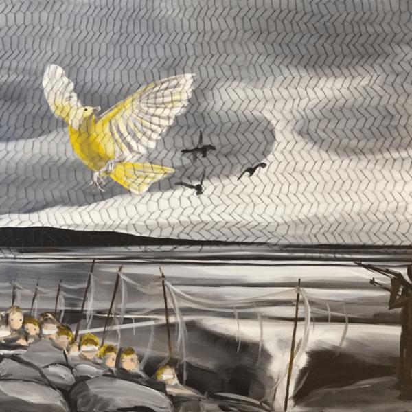 de Goya Projekt – Bild 3, 29,5 x 39,5 cm, Strichätzung / Aquatinta mit aufgeklebtem Netz
