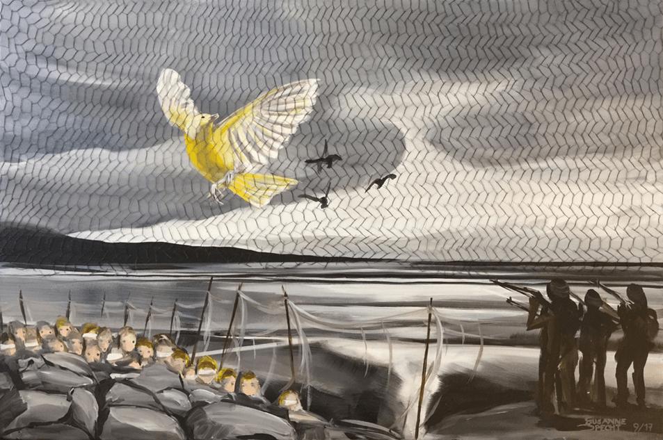 """<p class=""""p1""""><span class=""""s1""""><strong>de Goya Projekt – Bild 3</strong>, 29,5 x 39,5 cm, Strichätzung / Aquatinta mit aufgeklebtem Netz</span></p>"""
