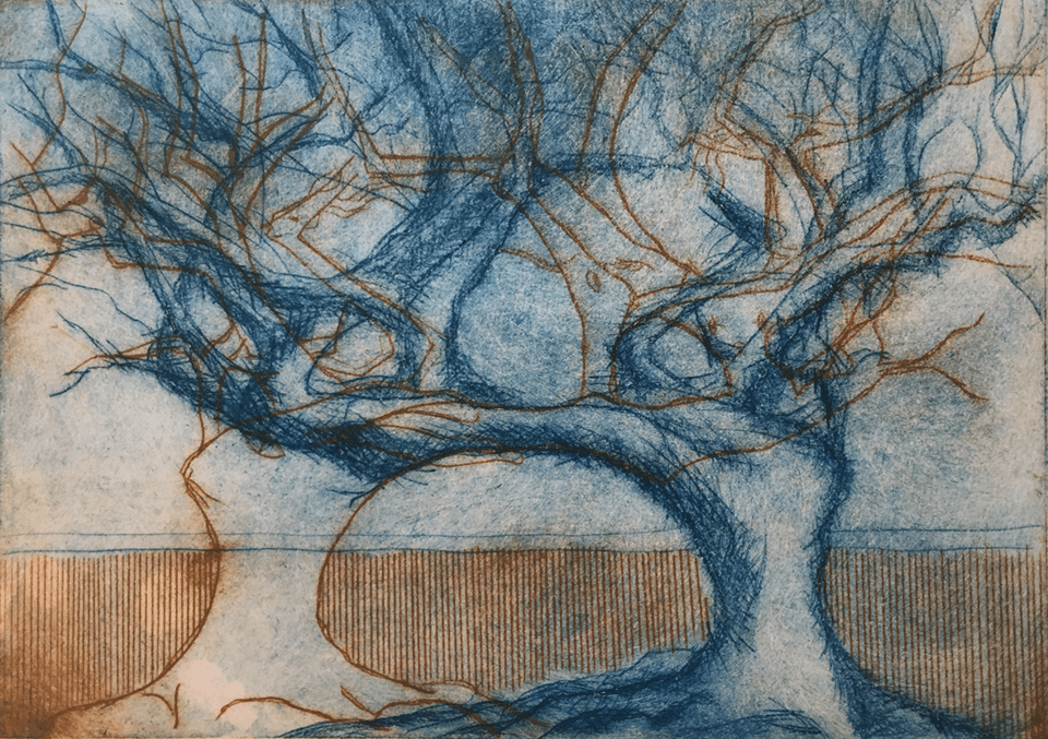 "<p class=""p1""><span class=""s1""><strong>2 Trees 1</strong>, 15 x 21 cm, etching</span></p>"