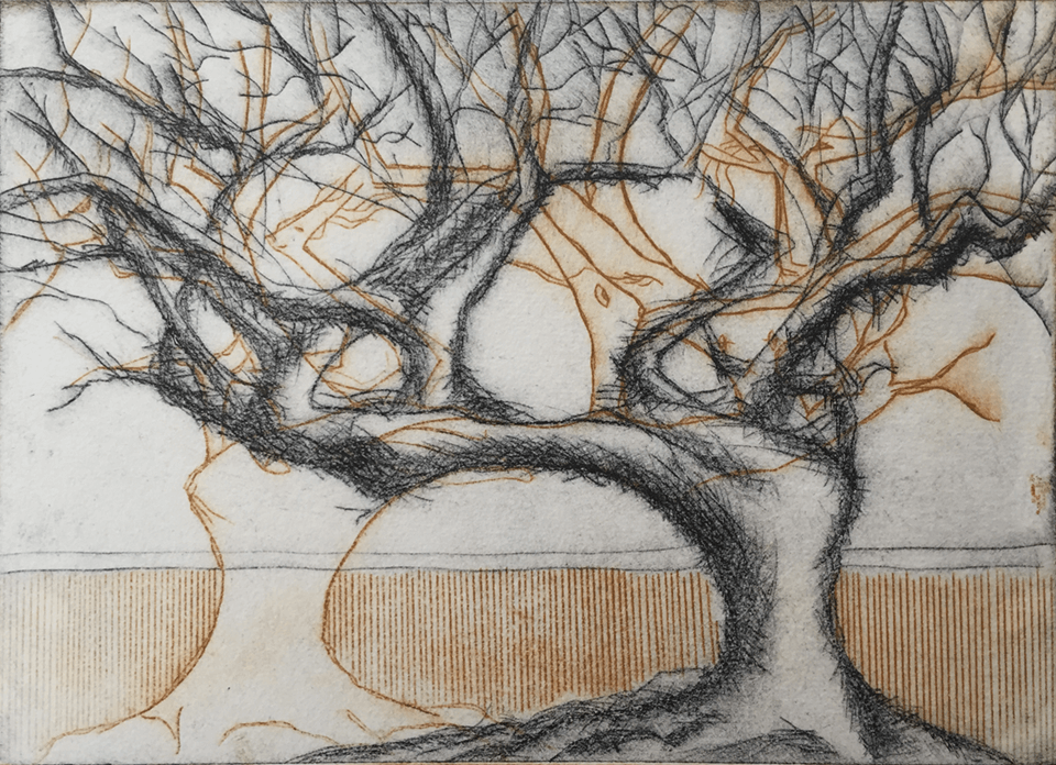 "<p class=""p1""><span class=""s1""><strong>2 Trees 2</strong>, 15 x 21 cm, etching</span></p>"