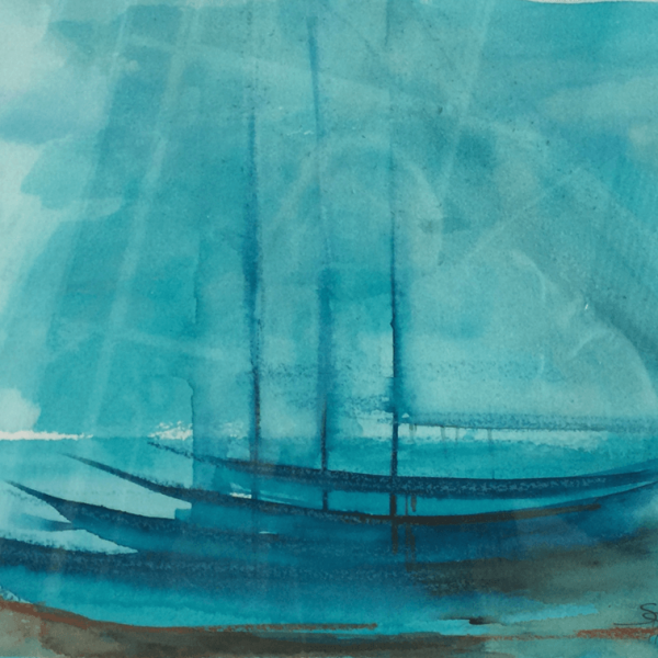 turquoise boats, 23 x 29 cm, watercolor and oilpastel