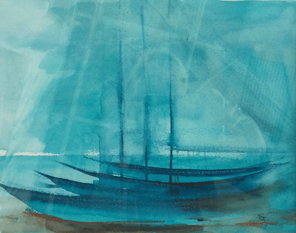 "<p class=""p1""><span class=""s1""><strong>turquoise boats</strong>, 23 x 29 cm, watercolor and oilpastel</span></p>"