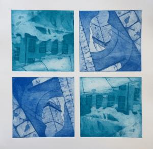 Titel: Gebäudespiegelungen, Größe: 4 mal 15/15, Technik: Strichätzung und Aquatinta