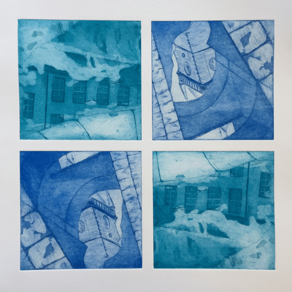Reflections of Buildings, 15 x 15 cm (4 x), line etching and aquatint