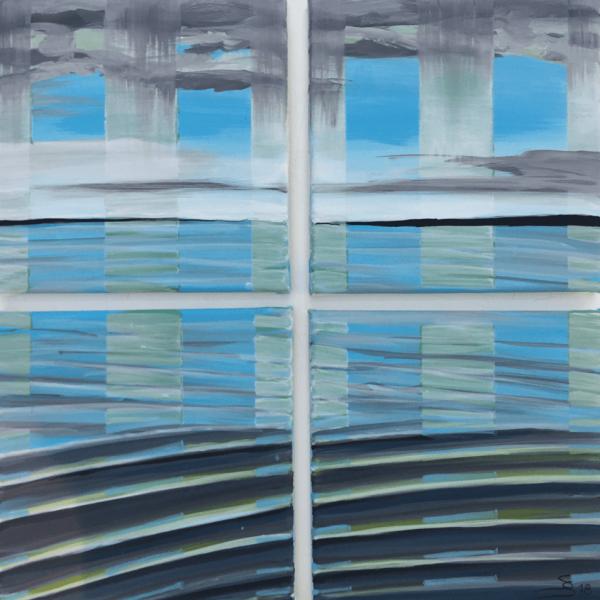 Stern waves of my ship, 20 x 20 cm (4 x), acryl on canvas