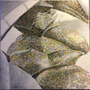 Titel: Europa ohne Schlagbäume, Größe: 100/100, Technik: Collage Europakartenschnipsel, koloriert, Mischtechnik