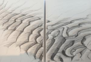Titel: Sandwellen, Größe: 100/100, Technik: Acryl auf Leinwand