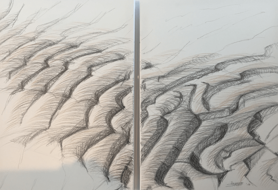 "<p class=""p1""><span class=""s1""><strong>Sand waves</strong>, 70 x 50 cm (2 x), drawing / graphite</span></p>"