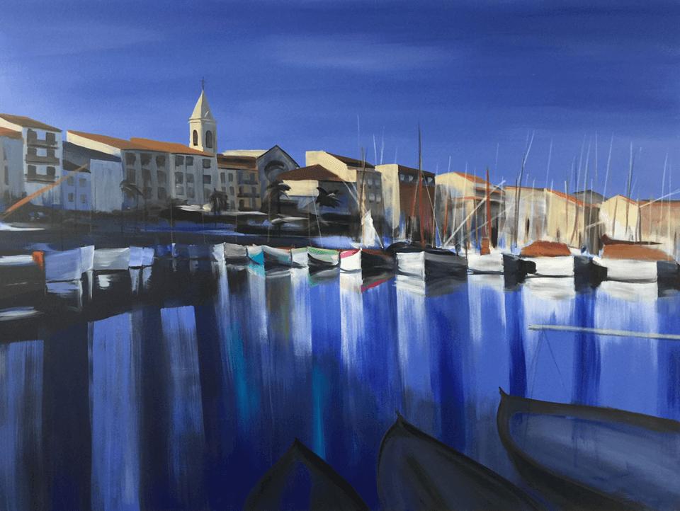 "<p class=""p1""><span class=""s1""><strong>Sanary sur Mer 2</strong>, Provence, 120 x 160 cm, acryl on canvas</span></p>"