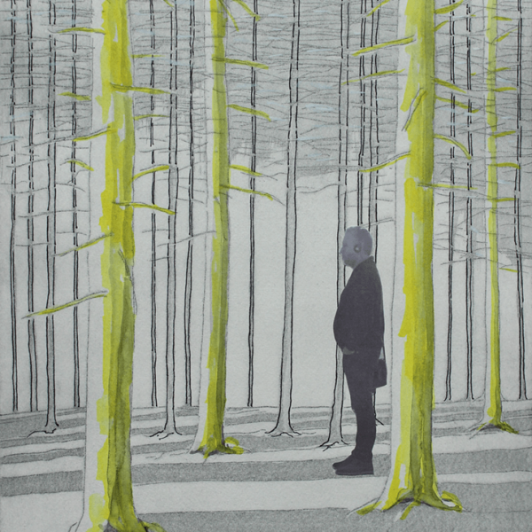 Waiting for Friederike (the quiet before the storm), 39,5 x 29,5 cm, line etching, aquatint and collage