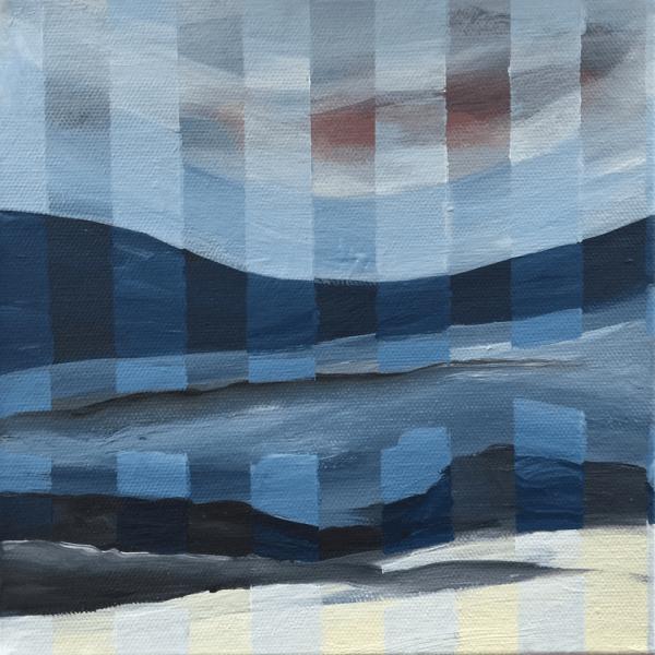 Streak through the countryside, 20 x 20 x 7 cm, acryl on canvas box