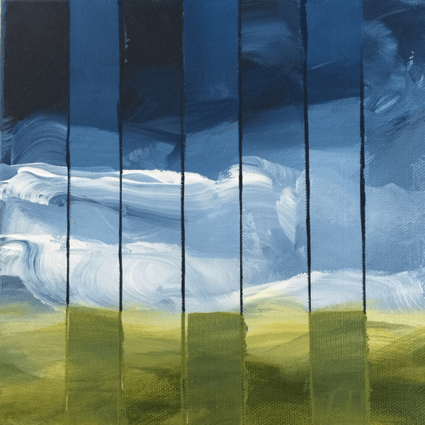 Clouds behind Bars, 20 x 20 x 7 cm, acryl on canvas box