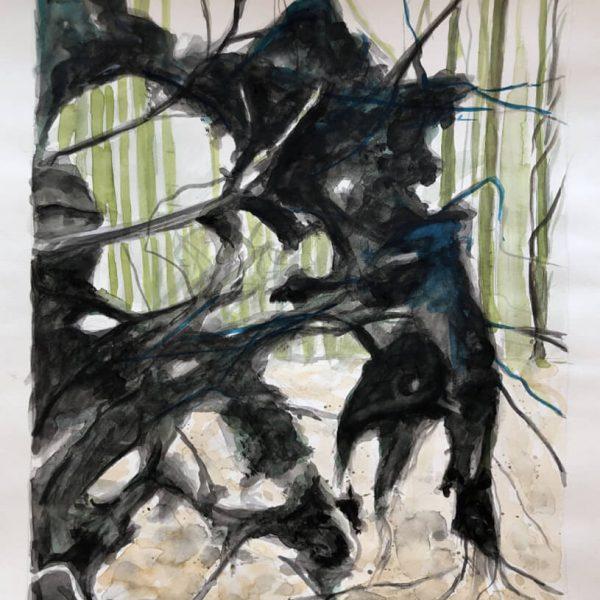 Wurzel, 48 x 36 cm, Aquarell