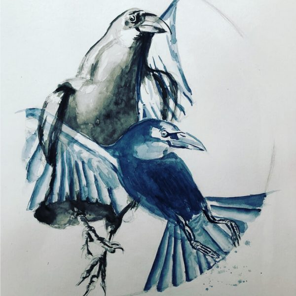 Zögerlicher Aufbruch, 48 x 36 cm, Aquarell